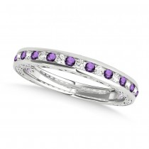 Diamond and Amethyst Channel Set Wedding Band Palladium (0.45ct)