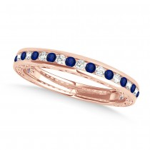 Diamond and Blue Sapphire Channel Set Wedding Band 14k Rose Gold (0.45ct)