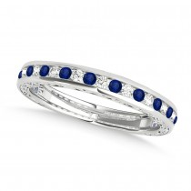 Diamond and Blue Sapphire Channel Set Wedding Band 18k White Gold (0.45ct)