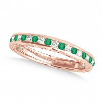 Diamond and Emerald Channel Set Wedding Band 14k Rose Gold (0.45ct)