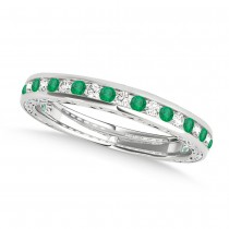 Diamond and Emerald Channel Set Wedding Band 14k White Gold (0.45ct)