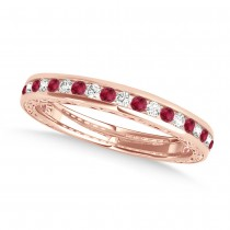 Diamond and Ruby Channel Set Wedding Band 14k Rose Gold (0.45ct)