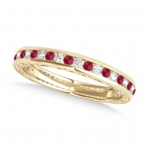 Diamond and Ruby Channel Set Wedding Band 18k Yellow Gold (0.45ct)