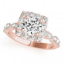 Diamond Sidestone Square Halo Engagement Ring 14k Rose Gold (1.72ct)