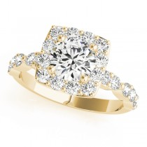 Diamond Sidestone Square Halo Engagement Ring 14k Yellow Gold (1.72ct)