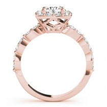 Diamond Sidestone Square Halo Engagement Ring 18k Rose Gold (1.72ct)