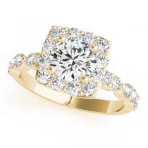 Diamond Sidestone Square Halo Engagement Ring 18k Yellow Gold (1.72ct)