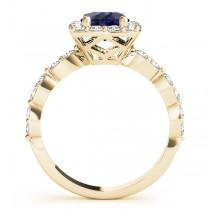Diamond & Blue Sapphire Square Halo Engagement Ring 14k Yellow Gold (1.72ct)