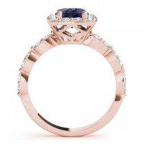 Diamond & Blue Sapphire Square Halo Engagement Ring 18k Rose Gold (1.72ct)