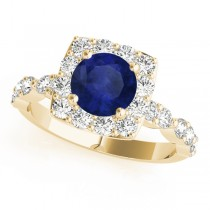 Diamond & Blue Sapphire Square Halo Engagement Ring 18k Yellow Gold (1.72ct)