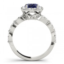Diamond & Blue Sapphire Square Halo Engagement Ring Palladium (1.72ct)
