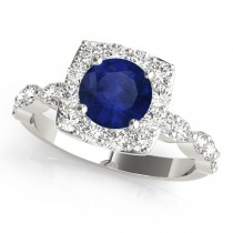 Diamond & Blue Sapphire Square Halo Engagement Ring Platinum(1.72ct)