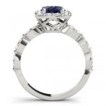 Diamond & Blue Sapphire Square Halo Engagement Ring Platinum(1.72ct)
