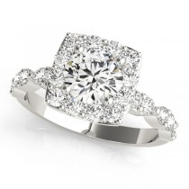 Diamond Sidestone Accented Square Halo Engagement Ring Platinum(1.72ct)