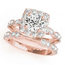 Diamond Sidestone Square Halo Bridal Set 14k Rose Gold (2.14ct)