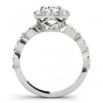 Diamond Sidestone Square Halo Bridal Set 14k White Gold (2.14ct)