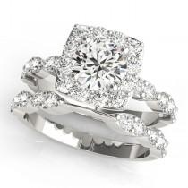 Diamond Sidestone Square Halo Bridal Set 18k White Gold (2.14ct)