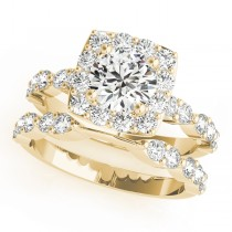 Diamond Sidestone Square Halo Bridal Set 18k Yellow Gold (2.14ct)