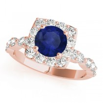 Diamond & Blue Sapphire Square Halo Bridal Set 14k Rose Gold (2.14ct)