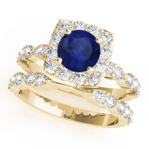 Diamond & Blue Sapphire Square Halo Bridal Set 14k Yellow Gold (2.14ct)