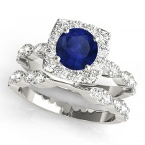 Diamond & Blue Sapphire Square Halo Bridal Set Palladium (2.14ct)