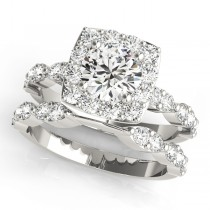 Diamond Sidestone Square Halo Bridal Set Platinum(2.14ct)