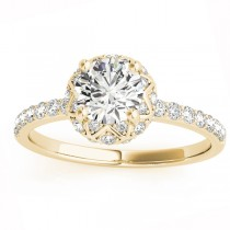 Diamond Accented Halo Engagement Ring Setting 14K Yellow Gold (0.24ct)