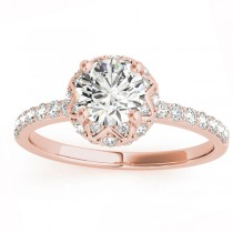 Diamond Accented Halo Engagement Ring Setting 18K Rose Gold (0.24ct)