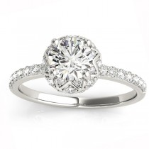 Diamond Accented Halo Engagement Ring Setting 18K White Gold (0.24ct)