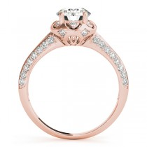 Diamond Floral Style Halo Engagement Ring 14k Rose Gold (0.75ct)