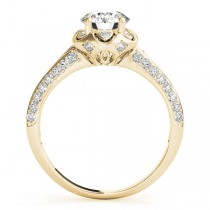 Diamond Floral Style Halo Engagement Ring 14k Yellow Gold (0.75ct)