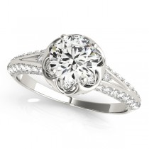Diamond Floral Style Halo Engagement Ring 18k White Gold (0.75ct)