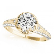 Diamond Floral Style Halo Engagement Ring 18k Yellow Gold (0.75ct)