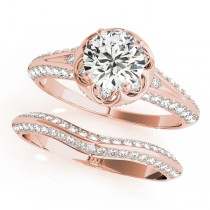 Diamond Floral Style Halo Bridal Set 14k Rose Gold (0.95ct)