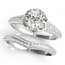 Diamond Floral Style Halo Bridal Set 14k White Gold (0.95ct)