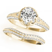 Diamond Floral Style Halo Bridal Set 18k Yellow Gold (0.95ct)