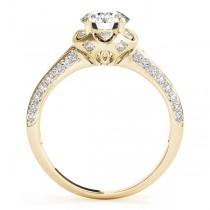 Diamond Floral Style Halo Bridal Set 18k Yellow Gold (0.95ct)