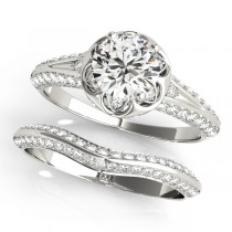 Diamond Floral Style Halo Bridal Set Platinum (0.95ct)