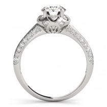 Diamond Floral Style Halo Bridal Set Platinum (0.95ct)