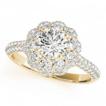 Diamond Floral Style Halo Engagement Ring 14k Yellow Gold (1.54ct)