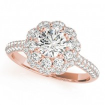Diamond Floral Style Halo Engagement Ring 18k Rose Gold (1.54ct)