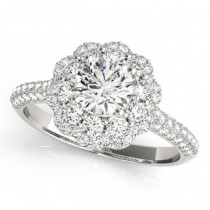 Diamond Floral Style Halo Engagement Ring Palladium (1.54ct)