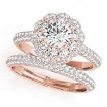 Diamond Floral Style Halo Bridal Set 14k Rose Gold (1.91ct)