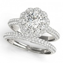 Diamond Floral Style Halo Bridal Set 14k White Gold (1.91ct)