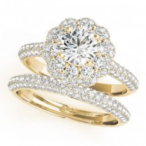 Diamond Floral Style Halo Bridal Set 14k Yellow Gold (1.91ct)