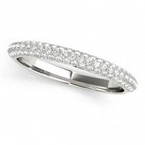 Triple Row Diamond Wedding Band Ring 14k White Gold (0.37ct)