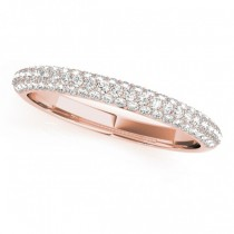 Triple Row Diamond Wedding Band Ring 18k Rose Gold (0.37ct)