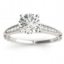 Diamond Accented Engagement Ring Setting 14K White Gold (0.16ct)