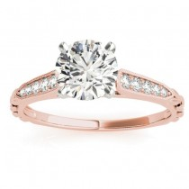 Diamond Accented Engagement Ring Setting 18K Rose Gold (0.16ct)