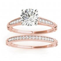 Diamond Accented Textured Bridal Set Setting 18K Rose Gold (0.21ct)